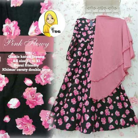 Grosir Mukena Katun Jepang Flower Pink Rh baju gamis cantik a146b katun jepang busana muslim jumbo