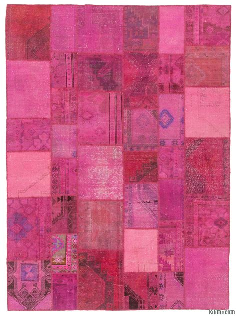 Turkish Patchwork Rugs - k0010471 pink dyed turkish patchwork rug