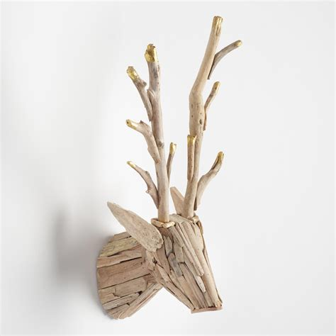 stag head home decor driftwood stag head wall decor world market