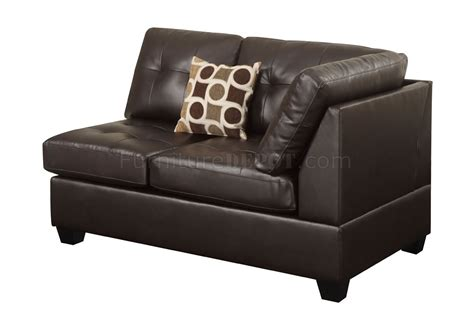 espresso leather couch f7242 sectional sofa by poundex in espresso bonded leather