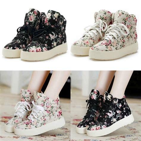 s flat platform shoes canvas cotton floral flowers