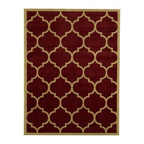 Ottomanson Contemporary Moroccan Trellis Dark Red 5 Ft X 5 Ft Area Rugs