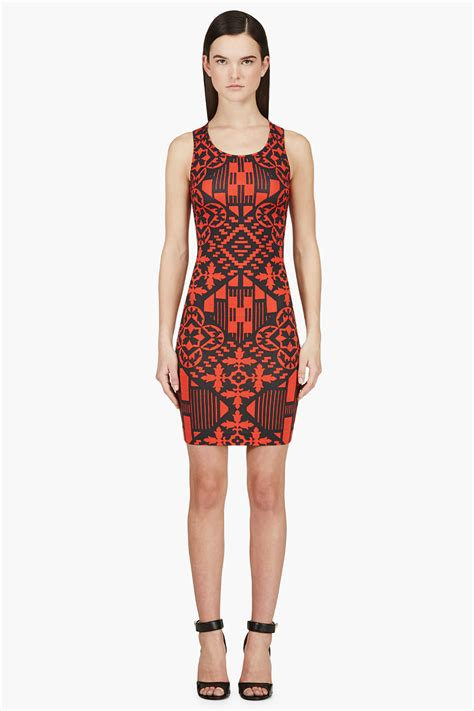 black and white patterned jersey dress alexander mcqueen red black patterned jersey dress