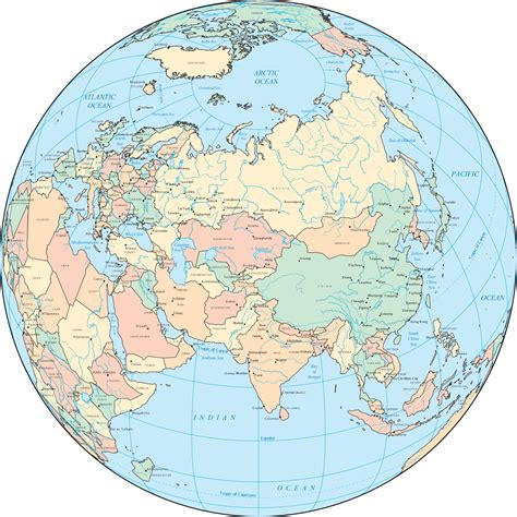 globe map of asia asia political map