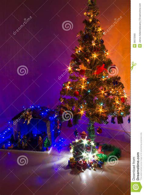 christmas crib and tree stock photo image of birth
