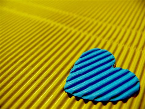 blue heart   yellow background hd wallpaper