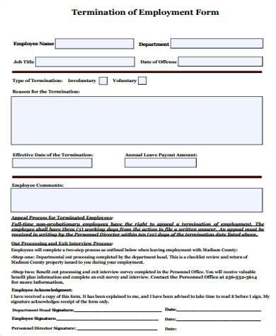 Termination Of Employment Form Template by 7 Termination Of Employment Sles Sle Templates