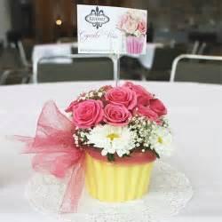 cupcake vase centerpiece flowers birthday by