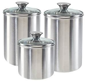 airtight kitchen canisters amazon com oggi stainless steel airtight 3 piece canister