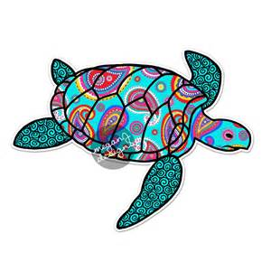 Paisley Wall Decals Blue Paisley Sea Turtle Decal Colorful Pattern Beach Bumper