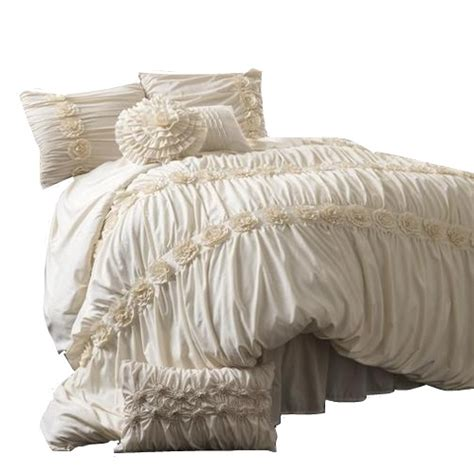 lush decor darla 4 piece comforter set ivory queen ebay
