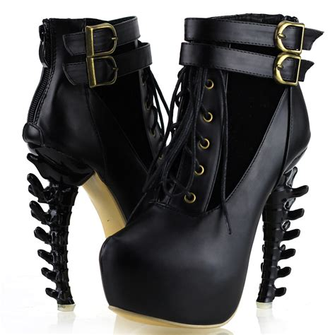 lace up buckle high top bone high heel platform ankle