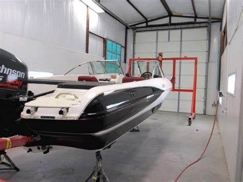 boat paint booth after boat restoration by color pro fiberglass a 1998