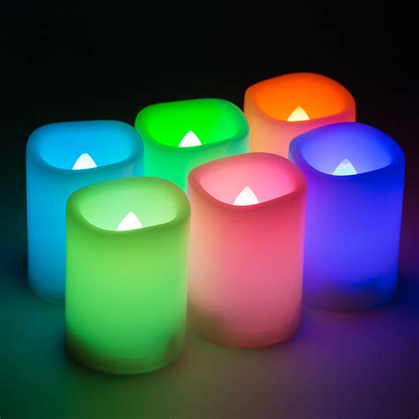 color changing candle 6x led flameless color changing flickering ivory candles