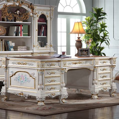 Antique Home Office Desk Luxury Office Furniture Baroque Carving Royalty Study Room Set In Other Antique Furniture