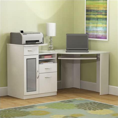 White Corner Computer Desk Bush Vantage Corner Wood White Computer Desk Ebay