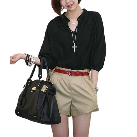 Kaos T Shirt Wanita Import White Summer Oversize 215369 black white oversized summer boho sheer blouse button shirt ebay