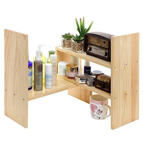 clip on desk shelf adjustable wood desktop storage organizer display