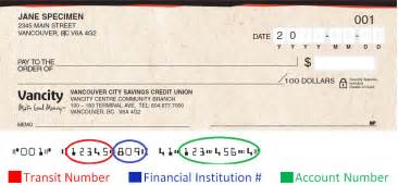 Numbers can be found by looking at your cheque encoding numbers