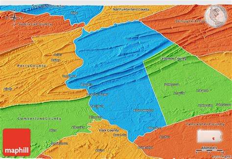 Dauphin County Records Political 3d Map Of Dauphin County