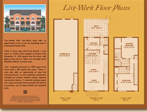 Avalon Floor Plan live work units at avalon park
