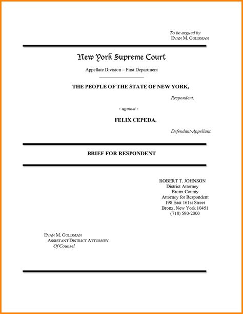 Appellate Attorney Cover Letter appellate brief cover page