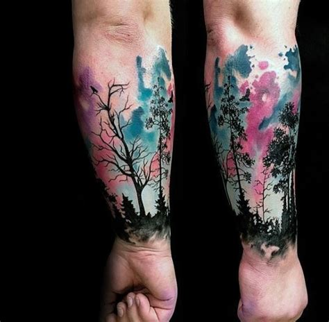 watercolor tree tattoo sleeve 50 northern lights designs for
