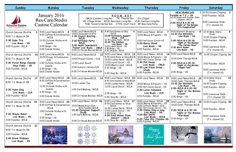 assisted living activity calendar template january 2016 activity calendars