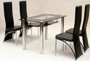 Dining Table Black Chairs Heartlands Vegas Black Glass Dining Table With 4 Chairs