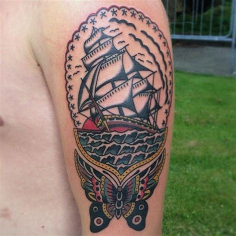 tattoo old school boat tattoo old school traditional ink butterfly and ship