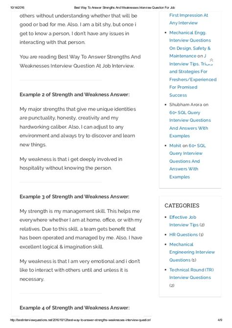 exle of weaknesses best way to answer strengths and weaknesses