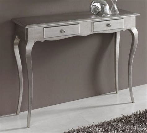 console table in silver colour finish