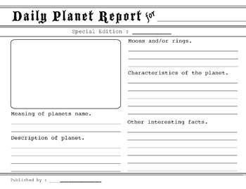 Planet Research Project Outline by Daily Planet Report By Steunenberg Teachers Pay Teachers