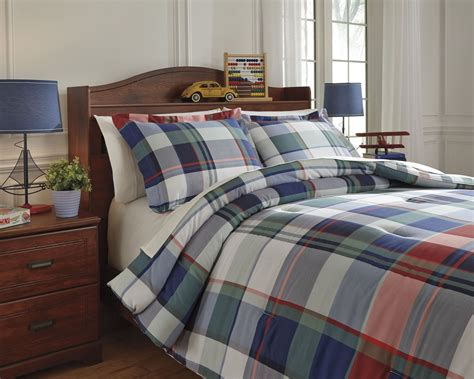 twin plaid comforter mannan plaid twin comforter set from ashley q773001t