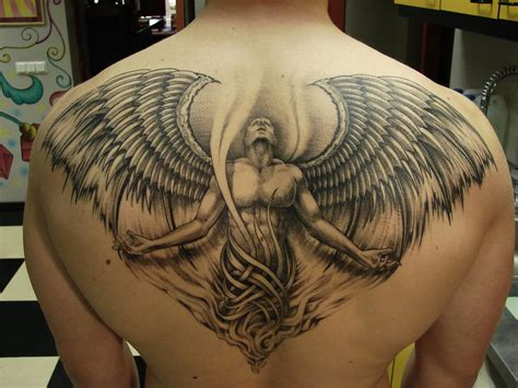 angel tattoo at the back angel back tattoos