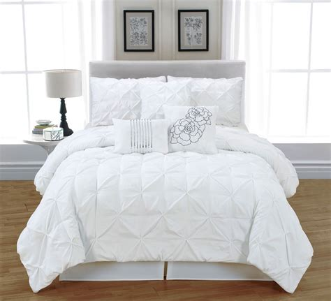 pc white tufted pinch pleat queen comforter set bed