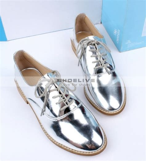 silver oxford shoes womens new fashion free shipping new fashion patent blucher