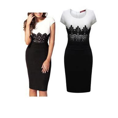 womens pencil skirt dress rounded neck lace bodice