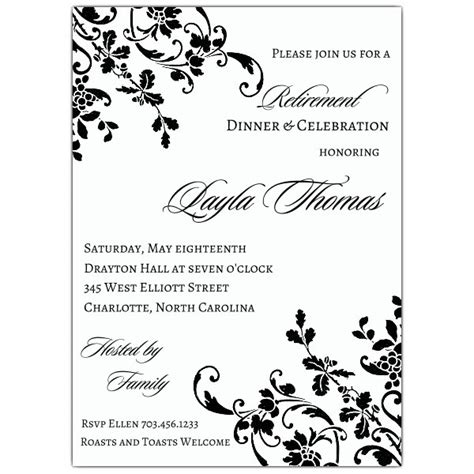 Floral Stripe Retirement Invitations Paperstyle Retirement Announcement Template Free