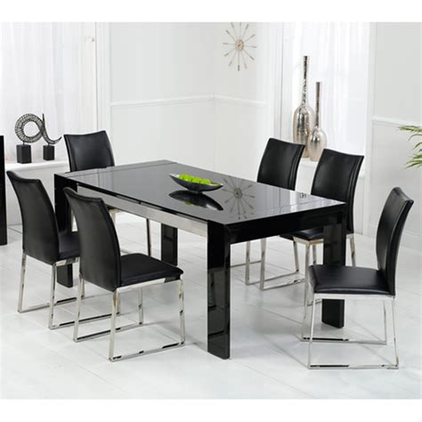 Dining Tables Black Glass Lexus High Gloss Black Glass Dining Table And 6