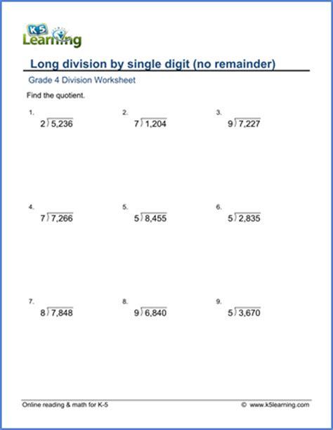grade 4 division worksheet 4 by 1 digit numbers no