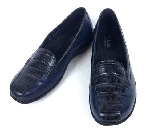 womens blue loafers clarks shoes womens navy blue leather comfort loafers 6 5