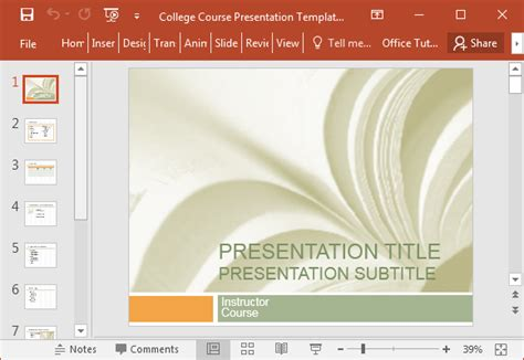 College Course Presentation Template For Powerpoint College Powerpoint Templates