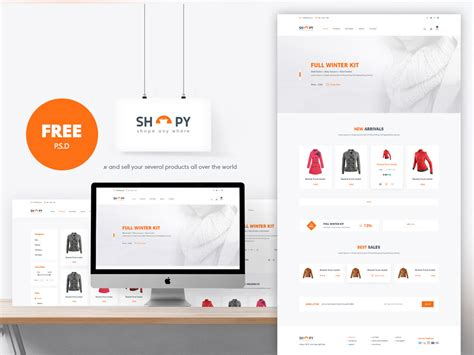 ecommerce shopping website template free psd download