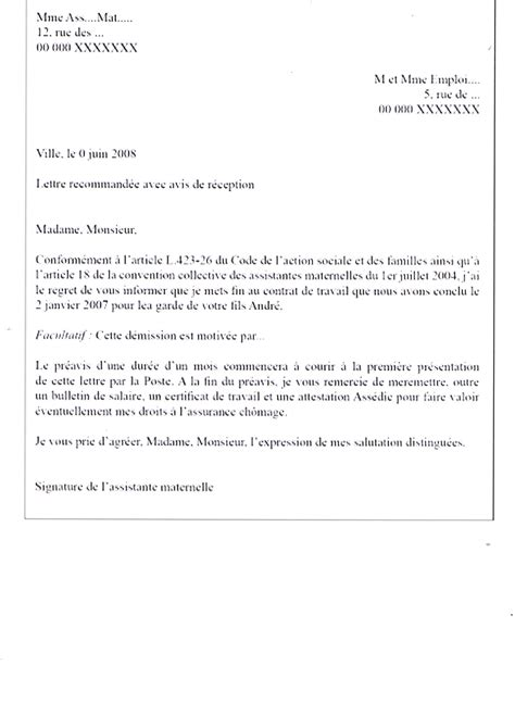 Exemple Lettre De Demission Nounou A Domicile Mod 232 Le De Lettre D 233 Mission De L Assistante Maternelle