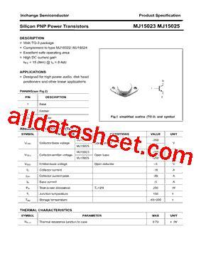 transistor mj15023 datasheet datasheet transistor mj15025 28 images mj15025 datasheet equivalent cross reference search