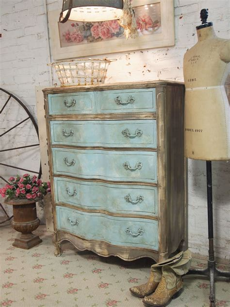 Shabby Chic Painted Dressers by Painted Cottage Chic Shabby Aqua Dresser Ch31