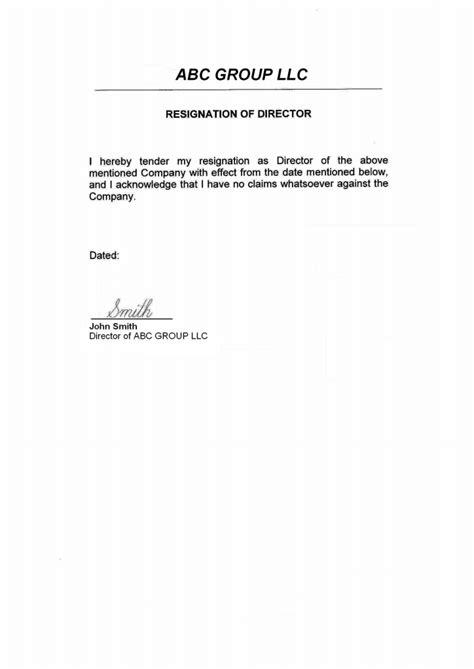 Resignation Letter Llc Member Usa Director Resignation Letter Page 1