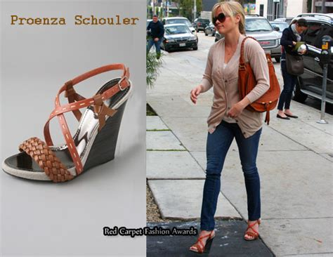 in reese witherspoon s closet proenza schouler multi wedge sandals marcie bag