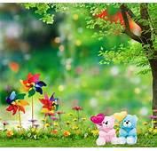 3x5FT Green Grass Flowers Garden Tree Love Bears Pinwheels